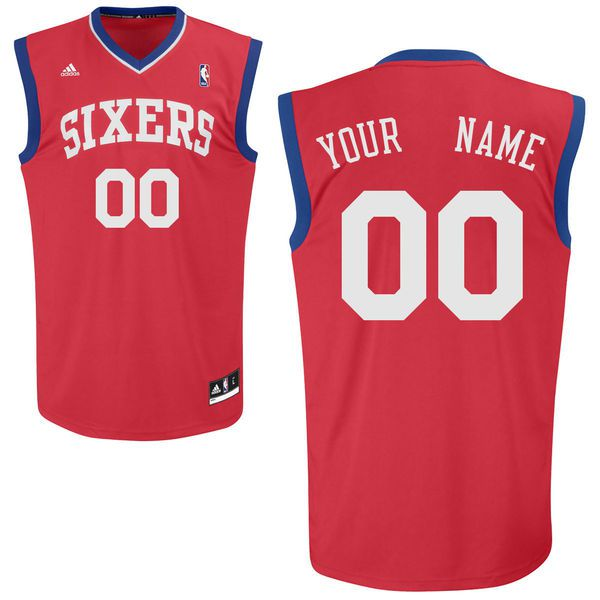 Men Adidas Philadelphia 76ers Custom Replica Alternate Red NBA Jersey