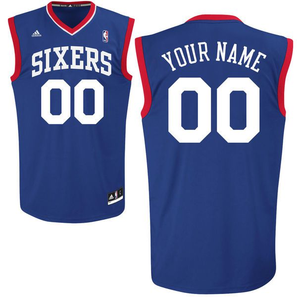 Men Adidas Philadelphia 76ers Custom Replica Road Blue NBA Jersey