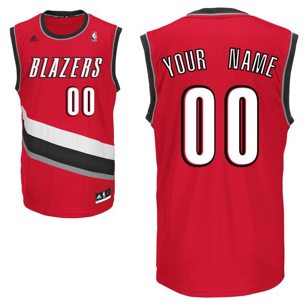 Men Adidas Portland Trail Blazers Custom Replica Alternate Red NBA Jersey 1