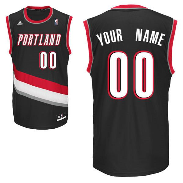Men Adidas Portland Trail Blazers Custom Replica Road Black NBA Jersey