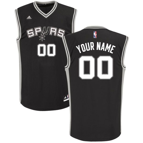 Men Adidas San Antonio Spurs Custom Replica Road Black NBA Jersey
