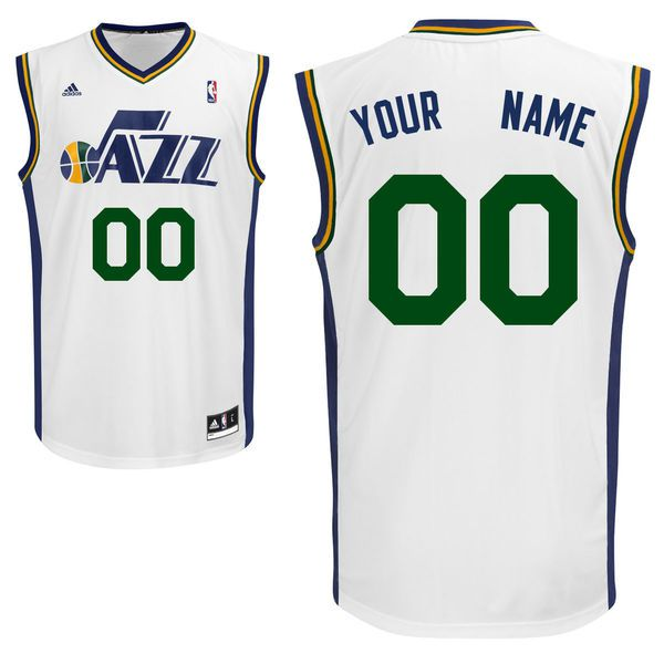 Men Adidas Utah Jazz Custom Replica Home White NBA Jersey