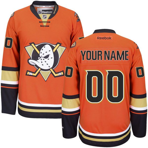 Men Anaheim Ducks Reebok Orange Custom Alternate Premier NHL Jersey