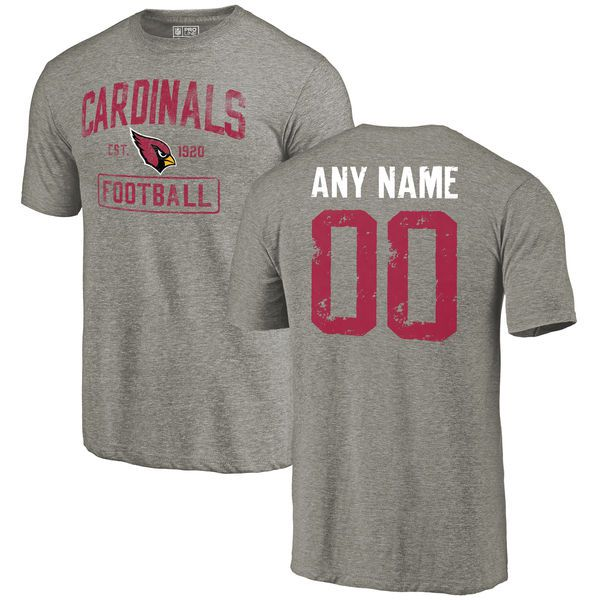 Men Arizona Cardinals NFL Distressed Custom Name and Number Gray Tri-Blend T-Shirt