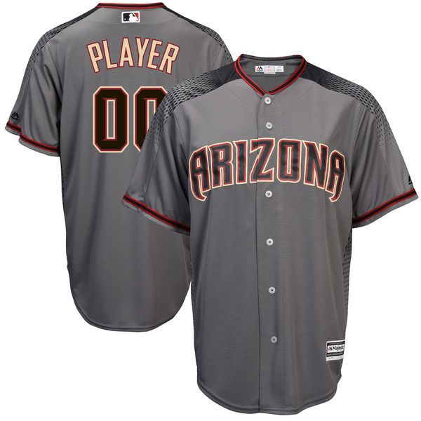 Men Arizona Diamondbacks Majestic Gray 2017 Cool Base Custom Baseball MLB Jersey