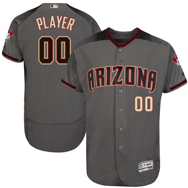 Men Arizona Diamondbacks Majestic Gray 2017 Flex Base Authentic Custom MLB Jersey
