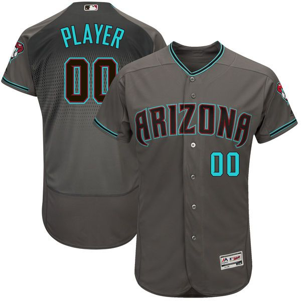 Men Arizona Diamondbacks Majestic Gray Turquoise 2017 Flex Base Authentic Custom MLB Jersey