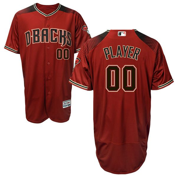 Men Arizona Diamondbacks Majestic Red Alternate Brick Flex Base Authentic Collection Custom MLB Jersey