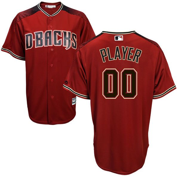 Men Arizona Diamondbacks Majestic Red Brick Cool Base Custom MLB Jersey