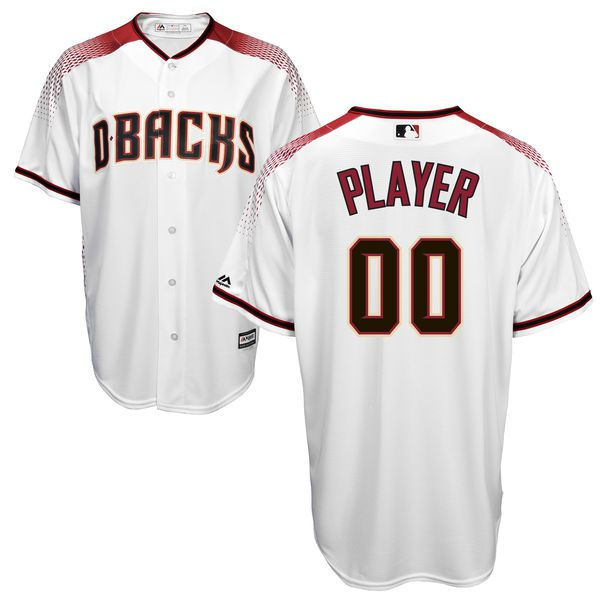 Men Arizona Diamondbacks Majestic White Brick Cool Base Custom MLB Jersey