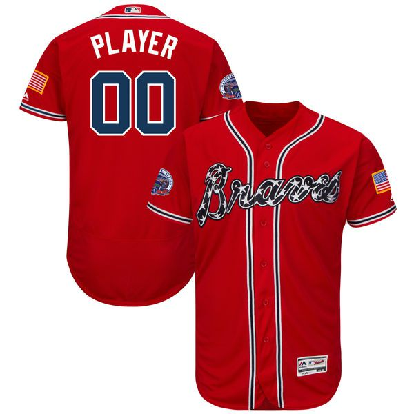 Men Atlanta Braves Majestic Alternate Red 2017 Authentic Flex Base Custom MLB Jersey with Commemorative Patch