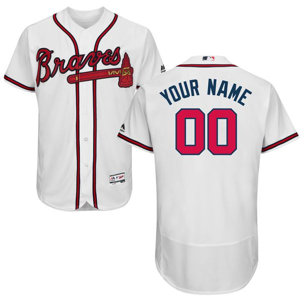 Men Atlanta Braves Majestic Home White Flex Base Authentic Collection Custom MLB Jersey