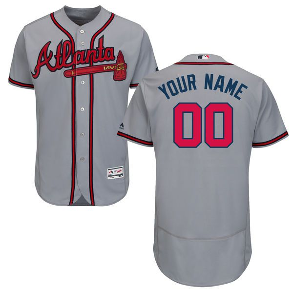 Men Atlanta Braves Majestic Road Gray Flex Base Authentic Collection Custom MLB Jersey