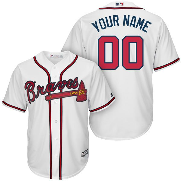 Men Atlanta Braves Majestic White Home Cool Base Custom MLB Jersey
