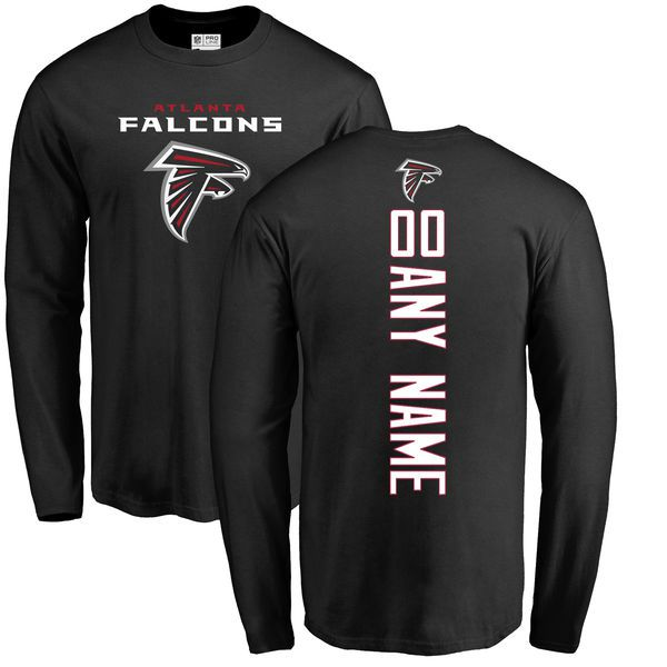 Men Atlanta Falcons NFL Pro Line Black Custom Backer Long Sleeve T-Shirt
