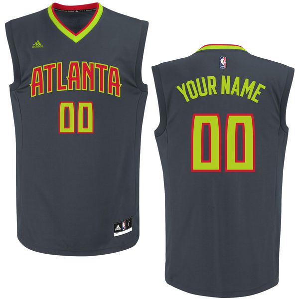 Men Atlanta Hawks Adidas Black Custom Replica Road NBA Jersey