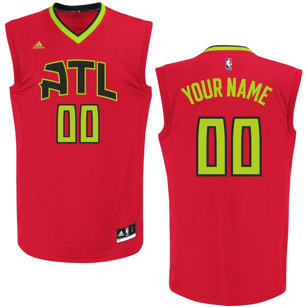 Men Atlanta Hawks Adidas Red Custom Alternate Replica NBA Jersey