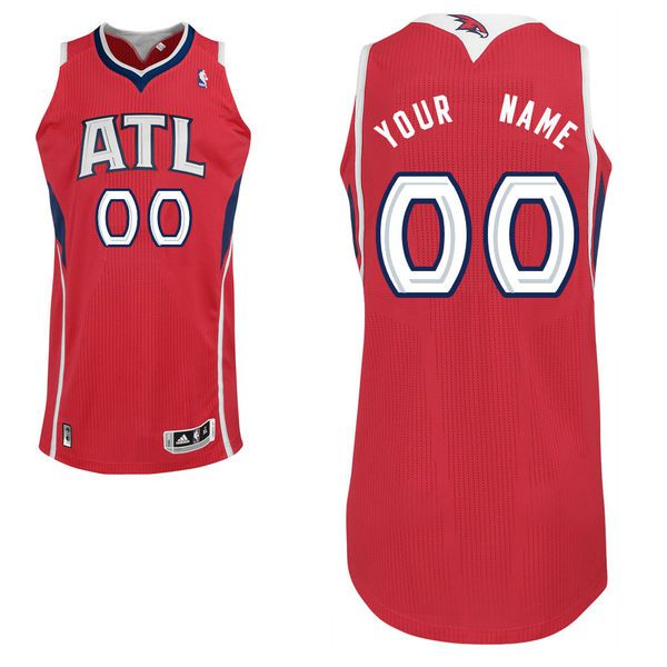 Men Atlanta Hawks Red Custom Authentic NBA Jersey