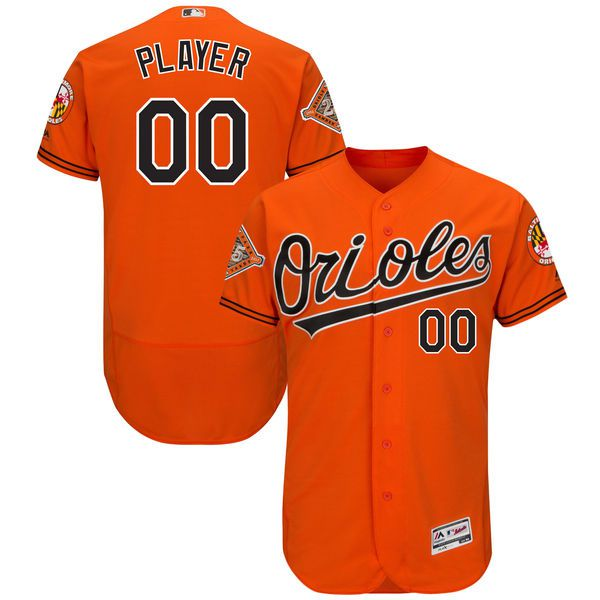 Men Baltimore Orioles Majestic Alternate Orange 2017 Authentic Flex Base Custom MLB Jersey with Commemorative Patch