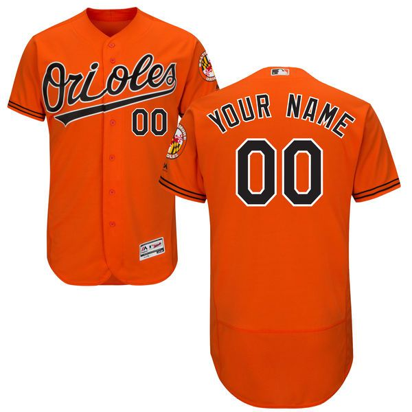 Men Baltimore Orioles Majestic Alternate Orange Flex Base Authentic Collection Custom MLB Jersey