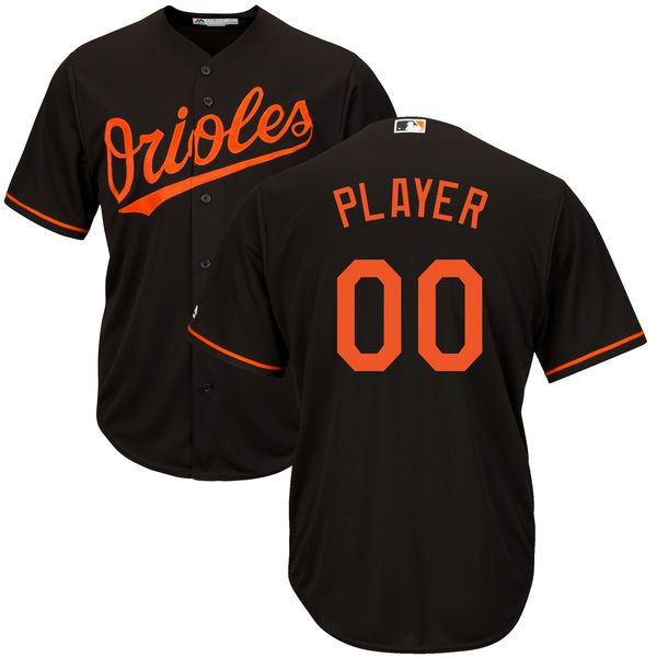 Men Baltimore Orioles Majestic Black Cool Base Custom MLB Jersey