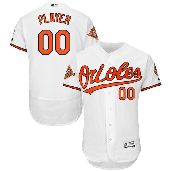 Men Baltimore Orioles Majestic Home White 2017 Authentic Flex Base Custom MLB Jersey with Commemorative Patch