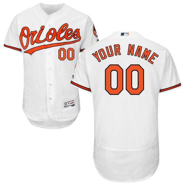Men Baltimore Orioles Majestic Home White Flex Base Authentic Collection Custom MLB Jersey