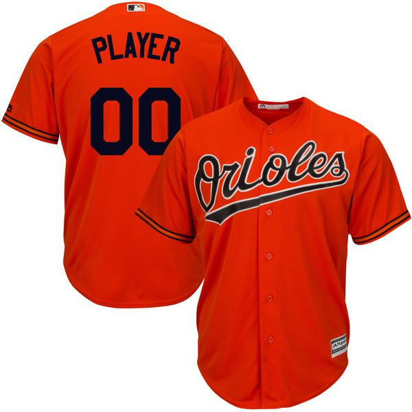 Men Baltimore Orioles Majestic Orange Cool Base Custom MLB Jersey