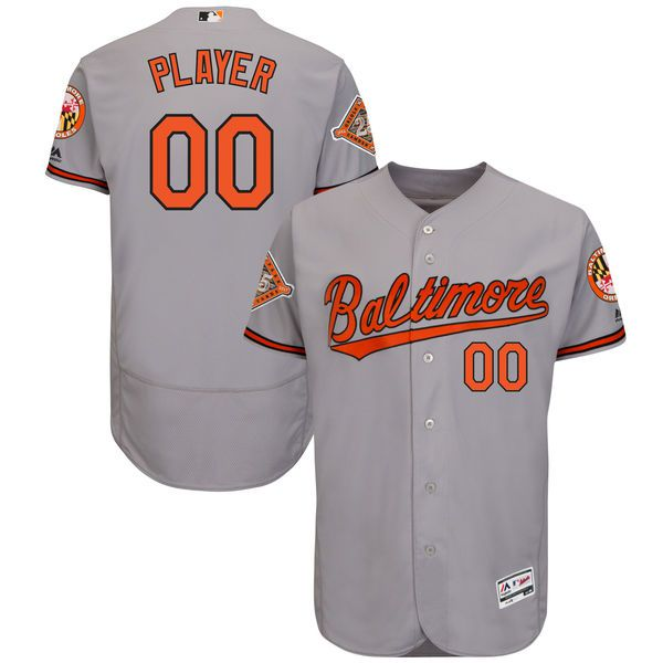 Men Baltimore Orioles Majestic Road Gray 2017 Authentic Flex Base Custom MLB Jersey with Commemorative Patch