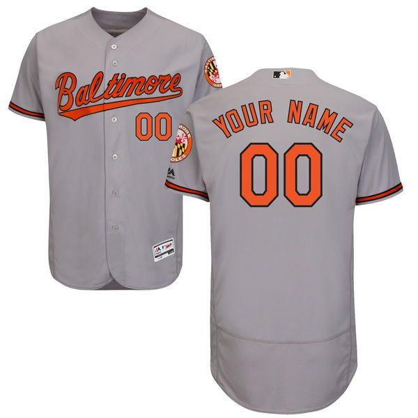 Men Baltimore Orioles Majestic Road Gray Flex Base Authentic Collection Custom MLB Jersey