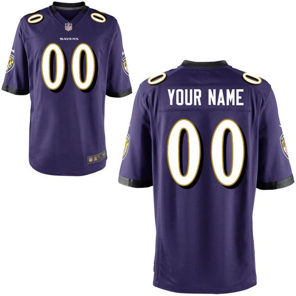 Men Baltimore Ravens Nike Purple Custom Game NFL Jersey