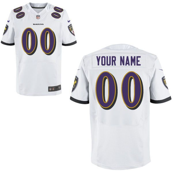 Men Baltimore Ravens Nike White Custom Elite NFL Jersey