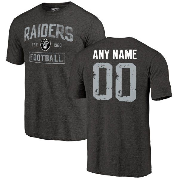 Men Black Oakland Raiders Distressed Custom Name and Number Tri-Blend Custom NFL T-Shirt