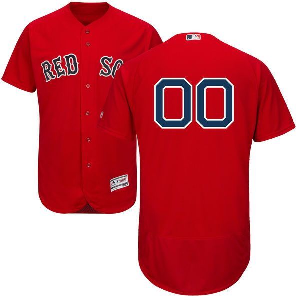 Men Boston Red Sox Majestic Alternate Red Scarlet Flex Base Authentic Collection Custom MLB Jersey
