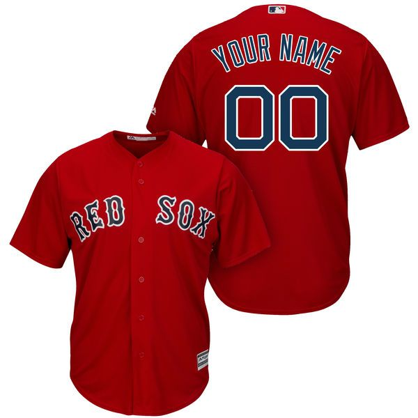 Men Boston Red Sox Majestic Red Cool Base Custom MLB Jersey