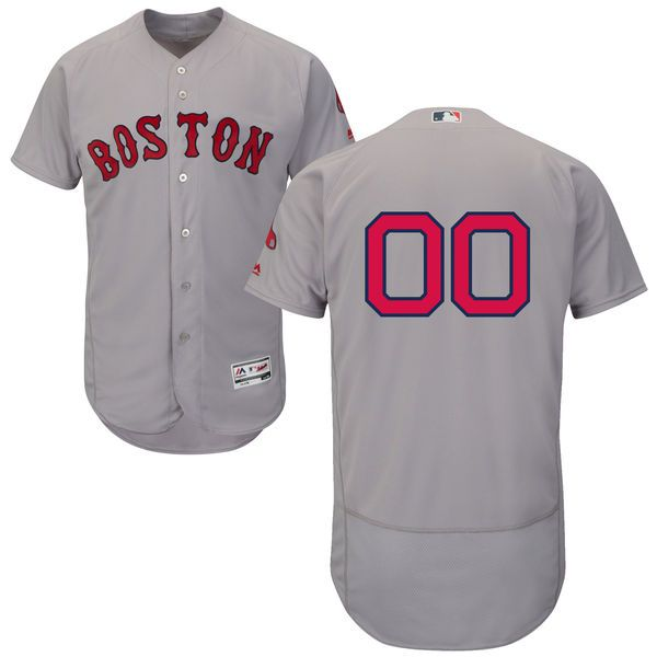 Men Boston Red Sox Majestic Road Gray Flex Base Authentic Collection Custom MLB Jersey