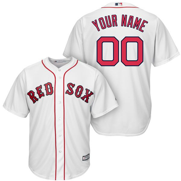 Men Boston Red Sox Majestic White Cool Base Custom MLB Jersey