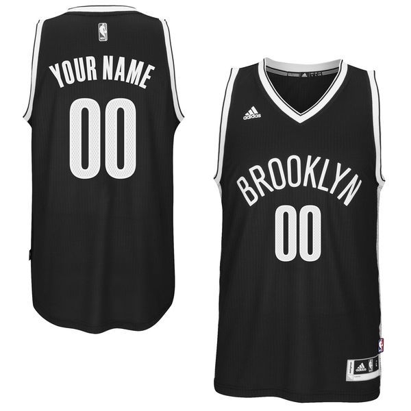 Men Brooklyn Nets Adidas Black Custom Swingman Road NBA Jersey