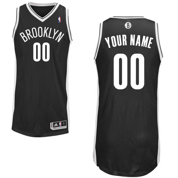 Men Brooklyn Nets Black Custom Authentic NBA Jersey