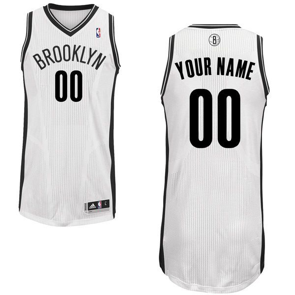 Men Brooklyn Nets White Custom Authentic NBA Jersey