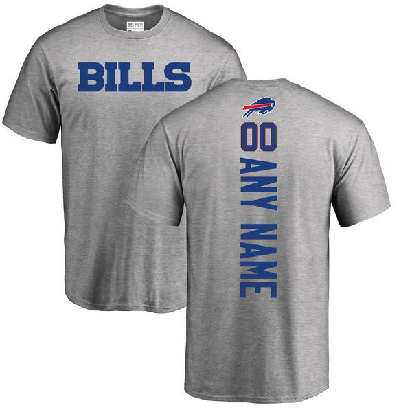 Men Buffalo Bills NFL Pro Line Ash Custom Backer T-Shirt