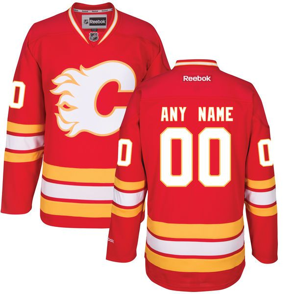 Men Calgary Flames Reebok Red Custom Alternate Premier NHL Jersey