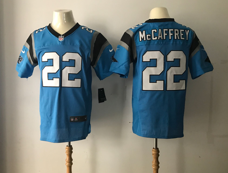 Men Carolina Panthers 22 Mccaffrey Blue Nike Elite NFL Jersey