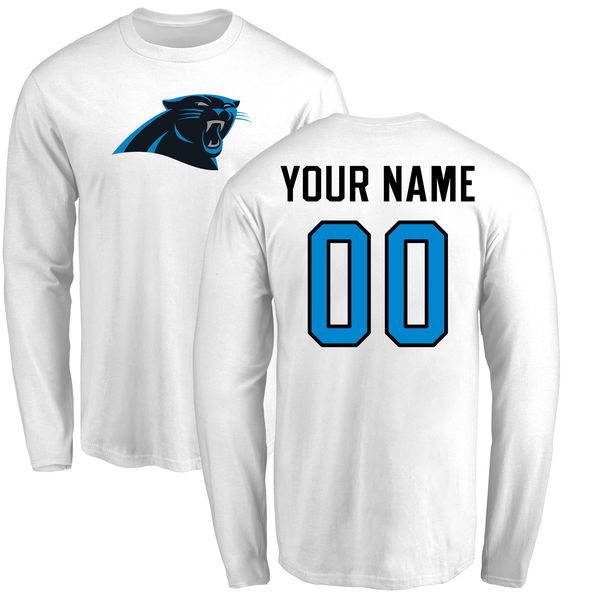 Men Carolina Panthers NFL Pro Line White Custom Name and Number Logo Long Sleeve T-Shirt