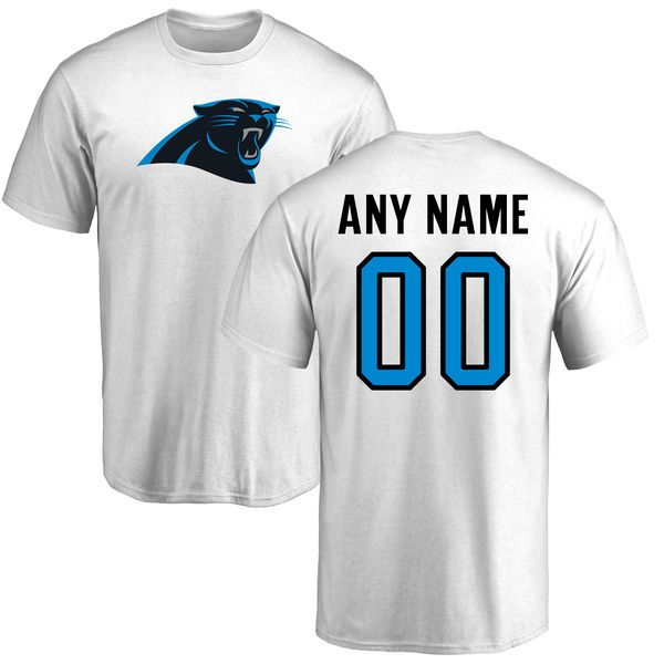 Men Carolina Panthers NFL Pro Line White Custom Name and Number Logo T-Shirt