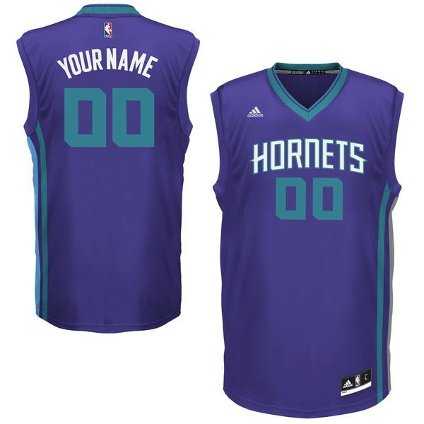 Men Charlotte Hornets Adidas Purple Team Color Custom Replica Basketball NBA Jersey