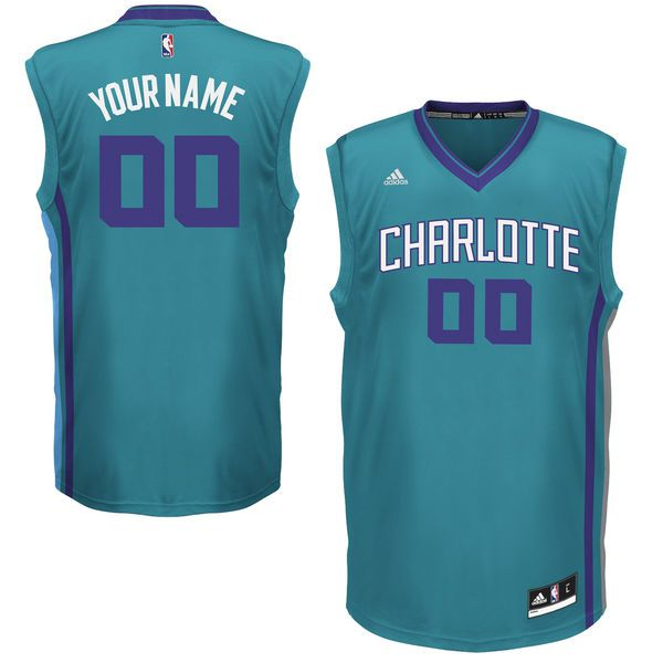 Men Charlotte Hornets Adidas Teal Custom Replica Alternate Green NBA Jersey