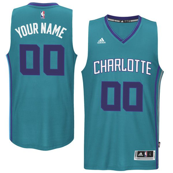 Men Charlotte Hornets Adidas Teal Custom Swingman Alternate Green NBA Jersey
