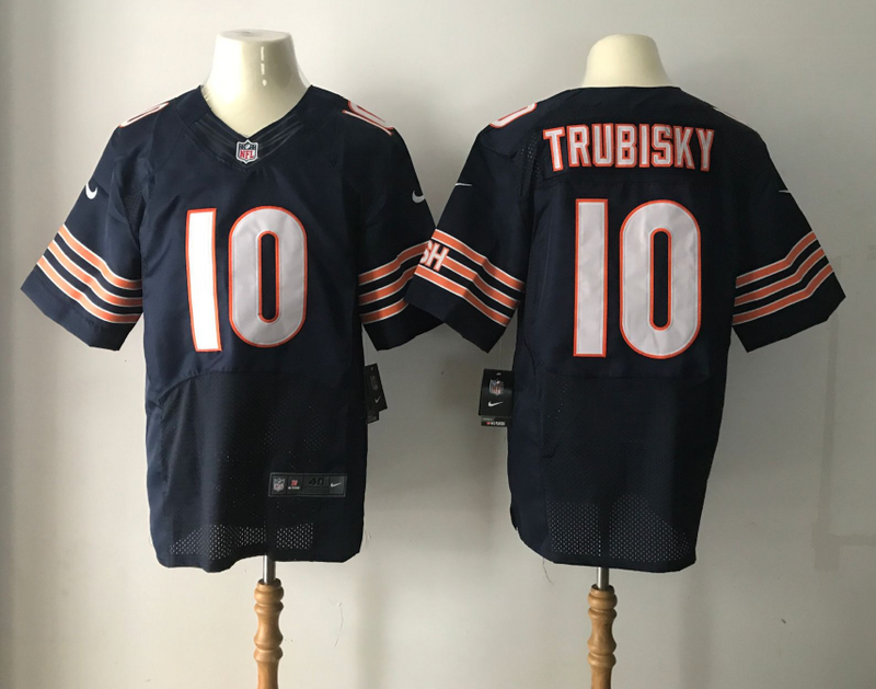 Men Chicago Bears 10 Trubisky Blue Nike Elite NFL Jersey