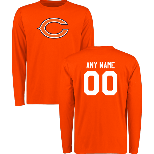 Men Chicago Bears Design-Your-Own Long Sleeve Custom NFL T-Shirt